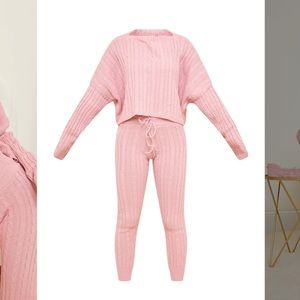 Dusty Pink Cable Knit Pajama Jumper Legging Set